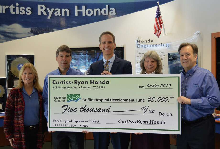Curtiss Ryan Honda in Shelton recently donated $5,000 to support the expansion of Griffin Health's surgical services. Pictured from left: Curtiss Ryan Sales Manager Kim Ryan, Curtiss Ryan CEO Rick Foehrenbach, Griffin Health President and CEO Patrick Charmel, Griffin Health Development Fund Executive Director Janet Hall, and Curtiss Ryan COO Ed DeMarseilles. Photo: Contributed Photo / Connecticut Post