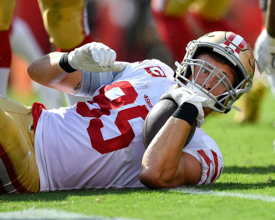 TAMPA, FL - SEPTEMBER 08: San Francisco 49ers Tight End George Kittle (85) looks to see if he was able to get a first down during the first half of the season opener between the San Francisco 49ers and the Tampa Bay Bucs on September 08, 2019, at Raymond James Stadium in Tampa, FL. (Photo by Roy K. Miller/Icon Sportswire via Getty Images) Photo: Icon Sportswire, Icon Sportswire Via Getty Images