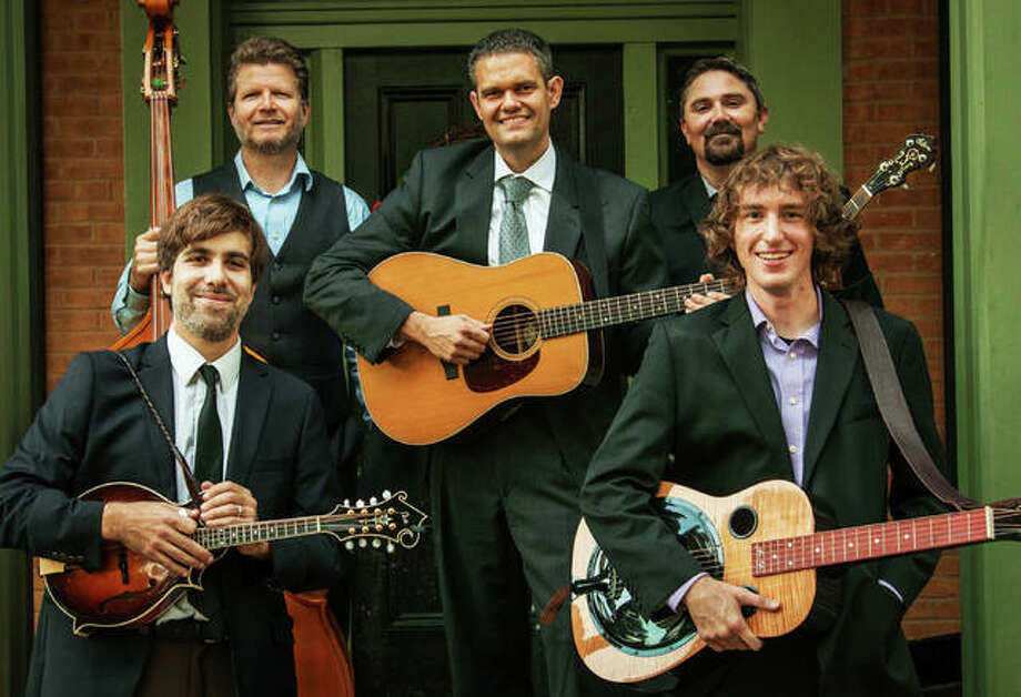 RiverBend Bluegrass Band Members, left to right, Andy Novara, Will Miskall, Aaron Muskopf, Kris Shewmake and Blake Korte. River Bend will perform Saturday at Jacoby Arts Center in Alton for its third annual and locally held holiday show. Photo: Courtesy Of RiverBend Bluegrass Band | For The Telegraph