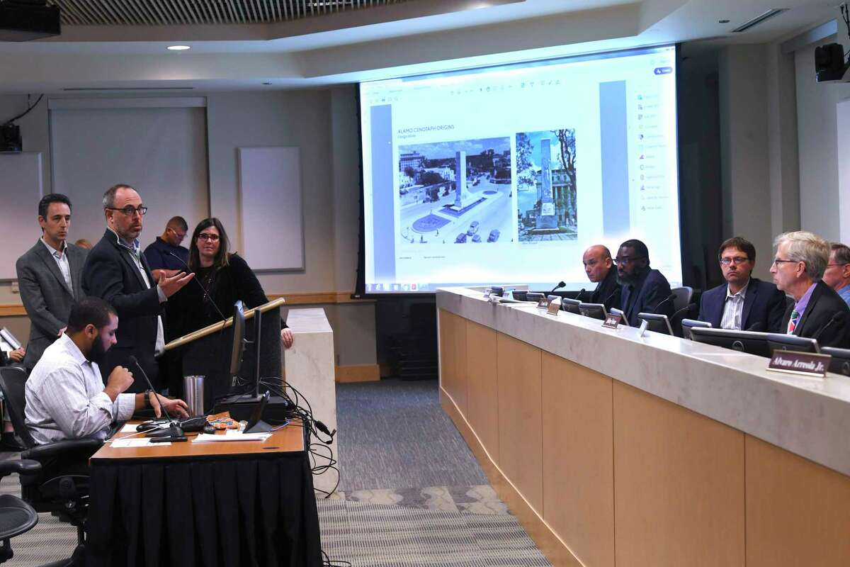 A team making a proposal for the moving and repair of the Cenotaph on the Alamo grounds answer questions from the city's Historic and Design Review Commission at the Development Service Building on Wednesday, Dec. 4, 2019.