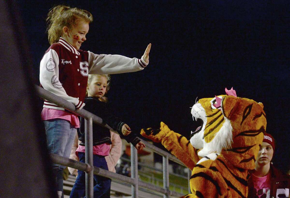 Silsbee's Tiger mascot greets fans before game start against West Orange - Stark during their match-up Friday night in Silsbee. Photo taken Friday, October 11, 2019 Kim Brent/The Enterprise