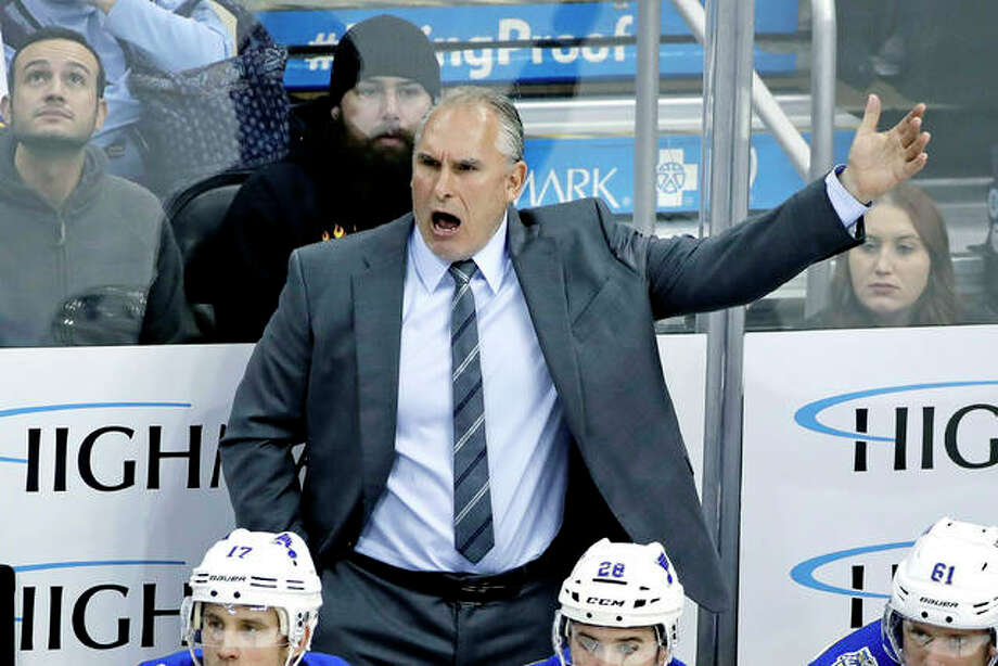 Blues coach Craig Berube gives instructions during the third period of Wednesday night's game against the Penguins in Pittsburgh. The Penguins won 3-0. Photo: AP Photo