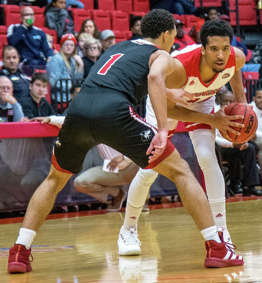 SIUE's Zeke Moore, shown in a Nov. 23 home game against Northern Illinois, scored 28 points Wednesday night in a loss to Chicago State at First Community Arena in Edwardsville.
