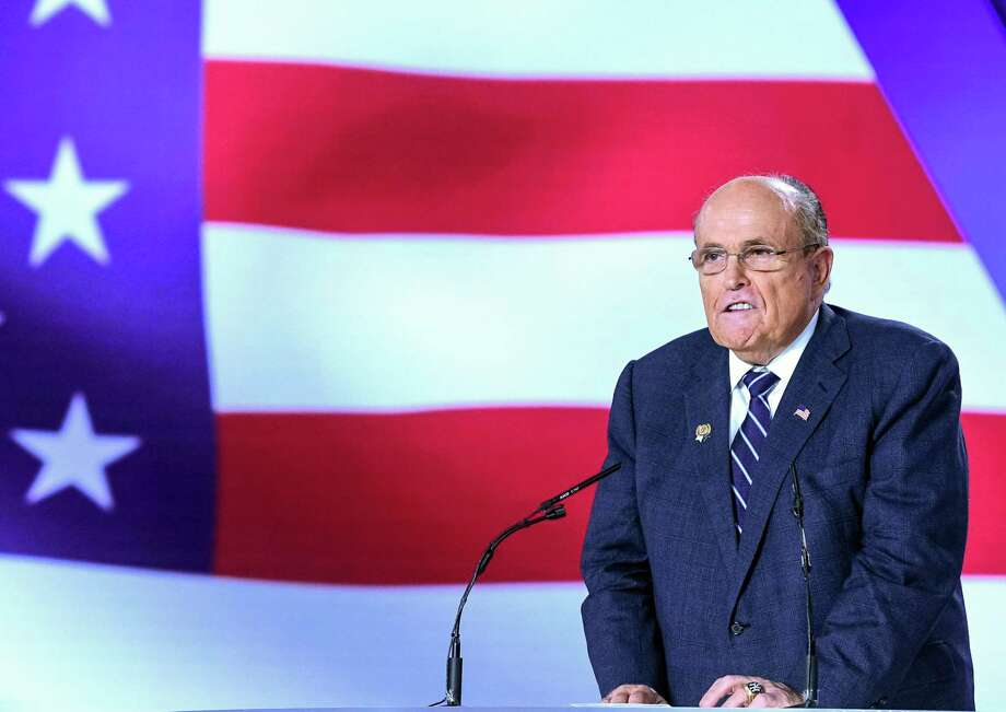 Former New York City Mayor Rudy Giuliani speaks during a conference in Manza, Albania. Photo: Getty Images / AFP or licensors