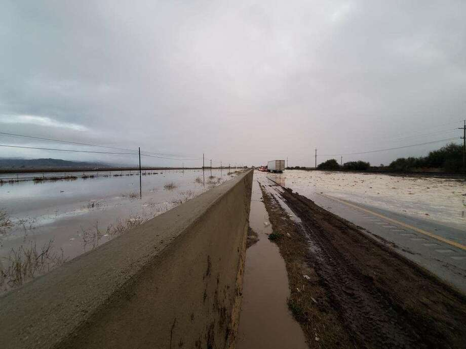 Highway 101 between Salinas and Chualar were inundated with flood water on Wednesday.  Photo: CalTrans Dist. 5