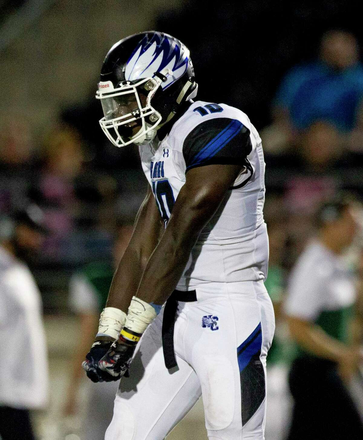 New Caney linebacker D.J. Harris is committed to the University of Texas.