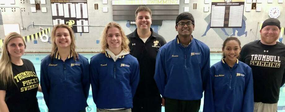 Coach Alecsa Wecker, Liz Stoezel, Cameron Kosak, coach Keith Nichols, Rohit Gunda, Alexis Abellard and head coach Bill Strickland at the Connecticut Swimming 2019 Annual Awards Banquet. Photo: Contributed Photo / Trumbull Pisces / Trumbull Times