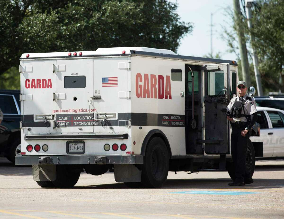 The bait armored car full of Houston Police Department SWAT officers inside stopped at a Walgreens parking lot at the intersection of Court Road and South Post Oak Rroad when attemped robbers tried to rob them on Friday, Nov. 1, 2019, in Houston. The robbers fled the parking lot and exchanged fire with the Houston Police Department officers a shopping center on the 16100 block of South Post Oak Road. One suspect was shot and air-lifted to Memorial Hermann Hospital in critical condition. The other suspects were taken into custody.