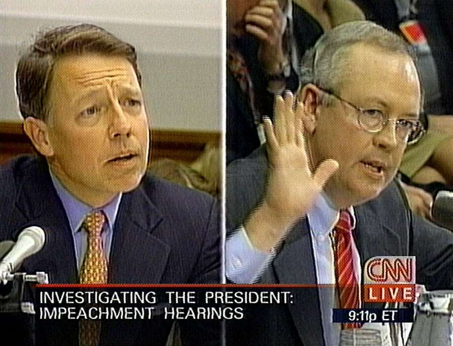 President Clinton's private attorney, David Kendall, left, questions Independent Counsel Kenneth Starr, right, in this image from image from television, during the committee's presidential impeachment hearing Thursday, Nov. 19, 1998, on Capitol Hill. (AP Photo/CNN) Photo: Cnn/ap, Associated Press
