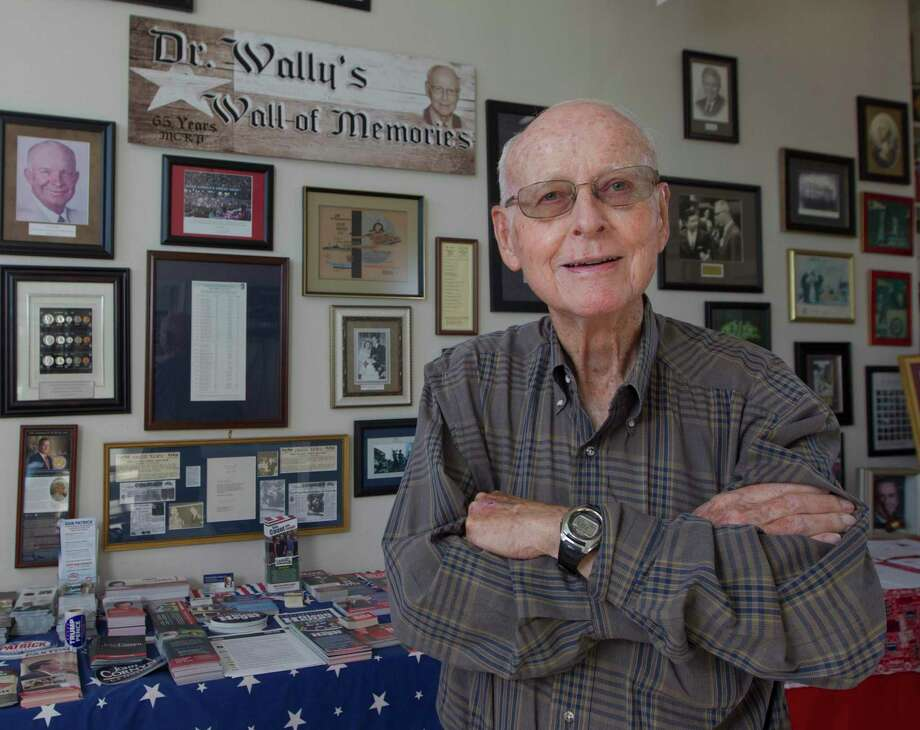 Montgomery County Republican Party Chairman Wally Wilkerson poses for a portrait in front of his wall of memories from more than 50 years as chairman at the Montgomery County Republican Headquarters in 2018. Wilkeron's historic term came to an end on Aug. 3. Photo: Jason Fochtman, Houston Chronicle / Staff Photographer / © 2018 Houston Chronicle