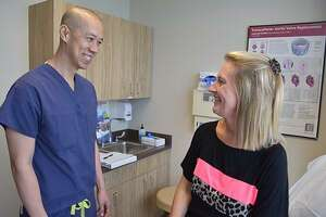 Maria Mamaux and her heart surgeon Tom Nguyen, MD, both have a connection with Cy-Fair ISD as an educator and student, respectively.