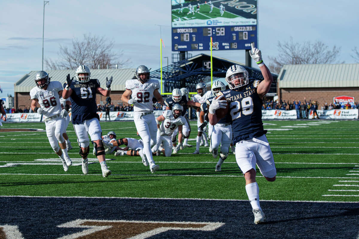 Logan Jones leads Montana State in rushing with 788 yards and seven touchdowns, including this one against Montana on Nov. 23, 2019. (Kelly Gorham/MSU Communications)