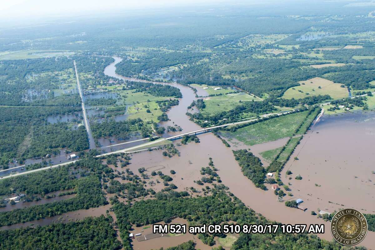 Aerial photographs taken by Brazoria County officials Wednesday morning show the extent of flooding caused by the Brazos River and rainfall from Hurricane Harvey. The locations of the photographs are shown in the bottom right corner.
