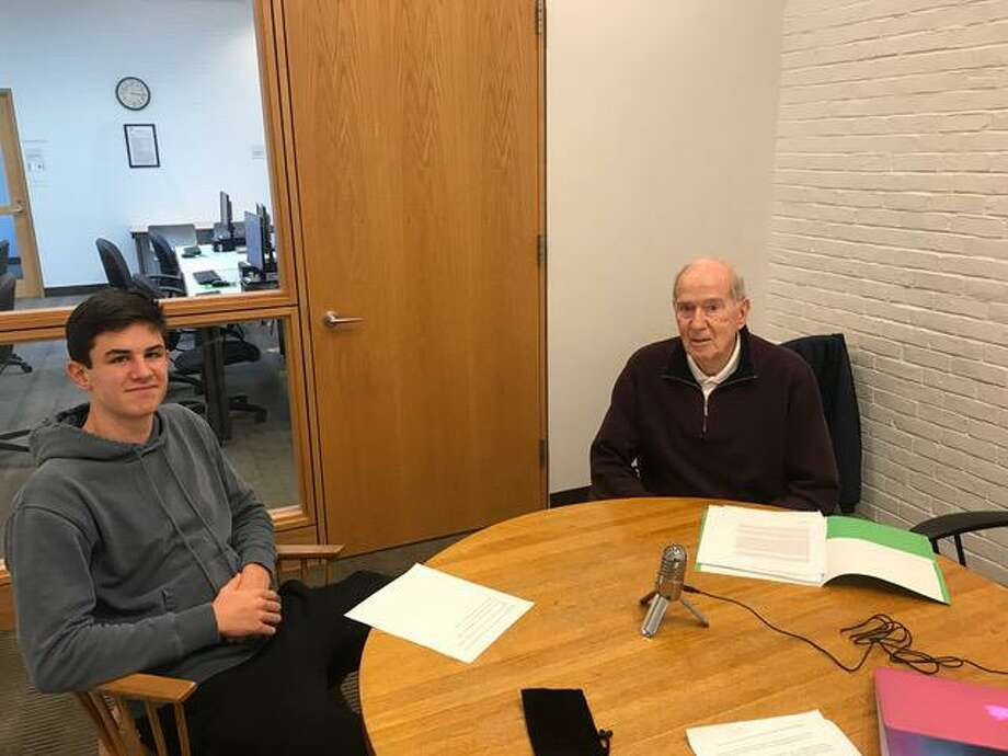"Wilton High School junior Connor Allen and Dick King, of Stay at Home in Wilton, conducted the first interview of the organization's new podcast, ""The Story Next Door."" Photo: Contributed Photo / Stay At Home In Wilton / Wilton Bulletin Contributed"