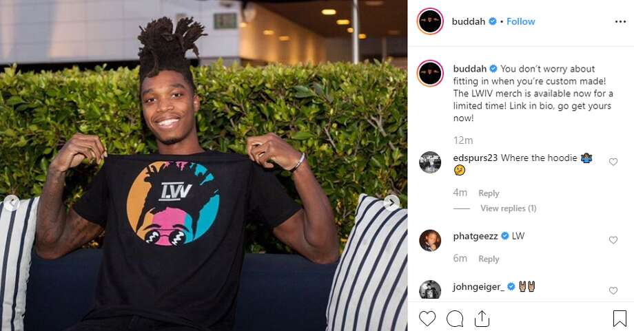 """You don't worry about fitting in when you're custom made! The LWIV merch is available now for a limited time! Link in bio, go get yours now,"" Spur Lonnie Walker announced his new merchandise. Photo: Instagram Screengrab"