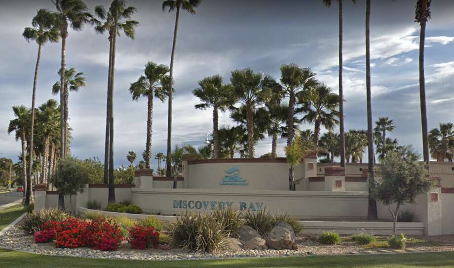 FILE - The entrance to Discovery Bay along Highway 4 is seen in April 2019. This is where $15,000 worth of holiday lights were stolen from the town display and remain missing just days before their annual Parade of Lights. Photo: Google Maps