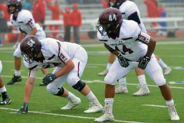 Abernathy players Dante Flores (44) and Miles Keith Jr. have been keys to the Antelopes' defensive presence this season. They'll be pitted against a dynamic and talented Canadian offense in the Class 3A Division II region championship game on Friday night.