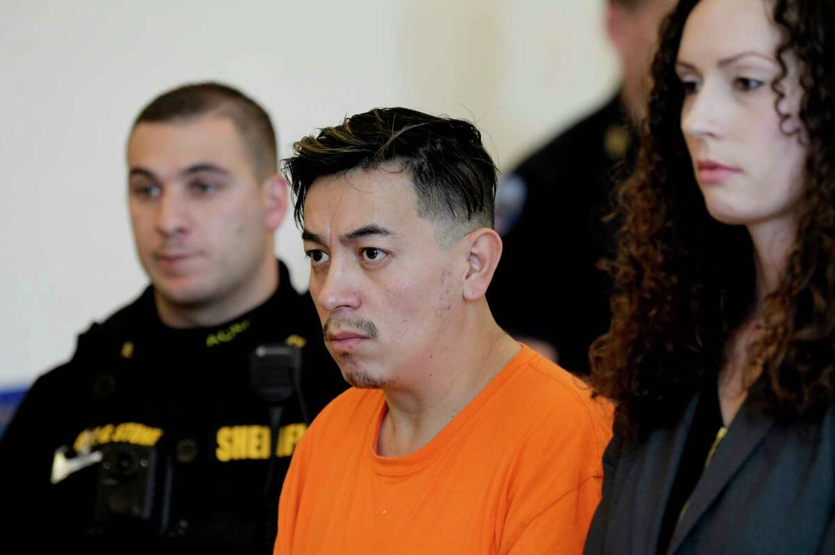 Anthony Ojeda, left, appears in Cohoes City Court for a bail hearing with his attorney, Albany County Assistant Public Defender, Angela Kelley, on Thursday, Dec. 5, 2019, in Albany, N.Y. (Paul Buckowski/Times Union)