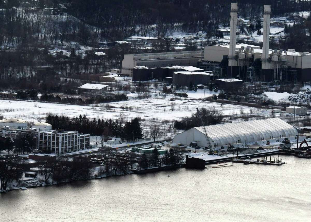 Site of the proposed BioHiTech plant would turn trash into burnable fuel on Thursday, Dec. 5, 2019, on Riverside Avenue in Rensselaer, N.Y. Seen from Corning Tower. (Will Waldron/Times Union)