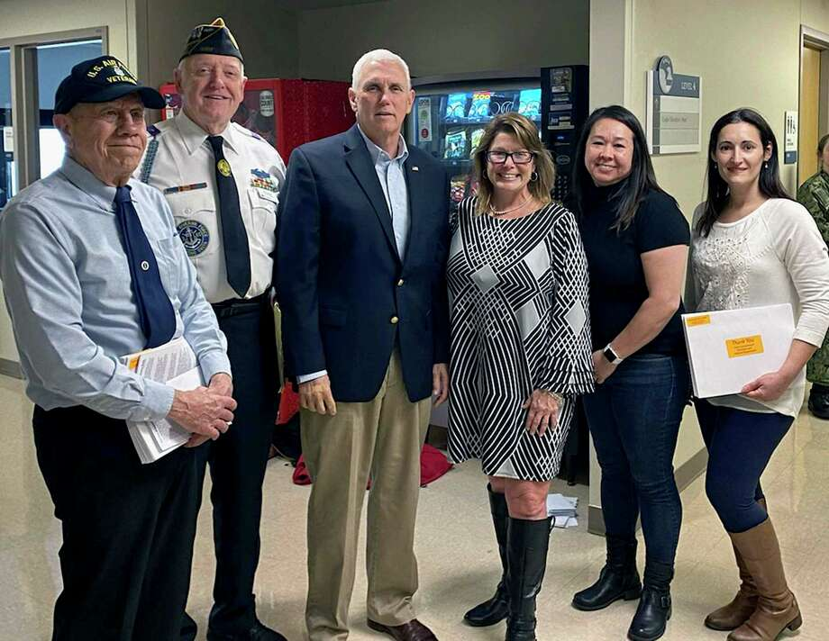 Left to right: Buzz Ayles, Al Meadows, Vice President Pence, Sherri Vogt, Francene Duncan, and Amy Gianninoto. The five December Operation Gift Cards representatives received a thank you from Vice President Pence. Photo: Contributed