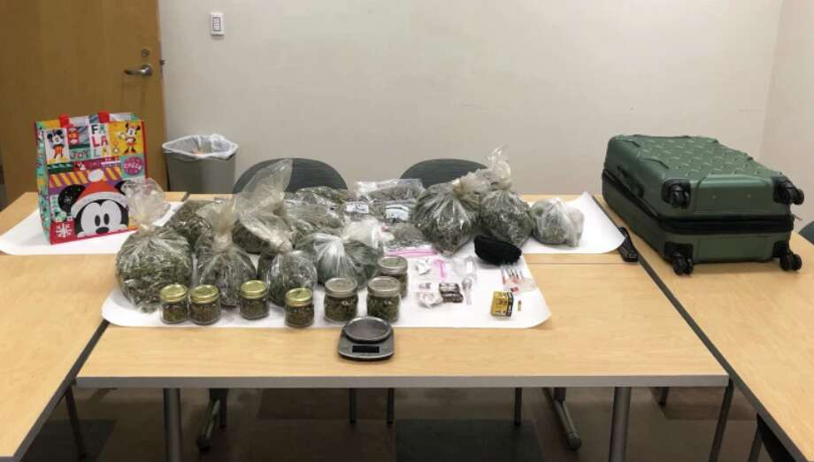 Ten pounds of marijuana, syringes believed to be filled with methamphetamine and an undisclosed amount of LSD were found in a car whose occupants were watching porn, according to Central Marin police. The man and woman in the car were arrested on drug charges. (Tuesday, Dec. 3, 2019.) Photo: Central Marin Police Authority
