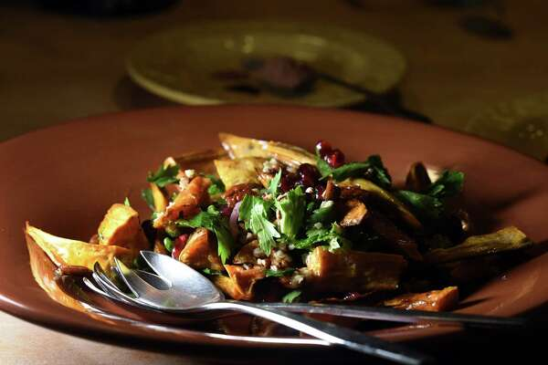 Roasted sweet potato salad with celery and pomegranate from Caroline Barrett on Tuesday, Nov. 26, 2019, in Delmar, N.Y. (Will Waldron/Times Union)