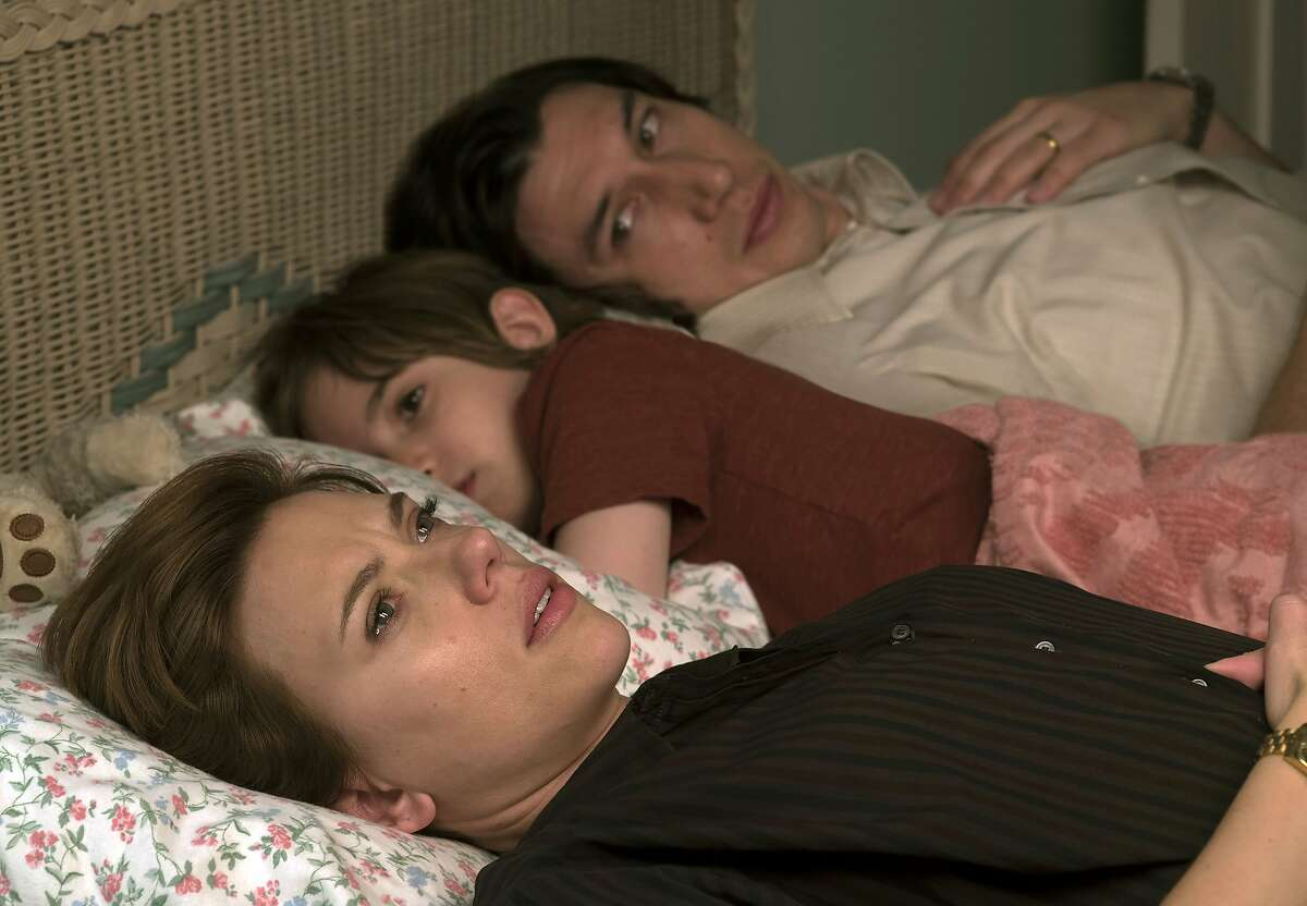 """This image released by Netflix shows Scarlett Johansson, left, and Adam Driver in """"Marriage Story."""" (Netflix via AP)"""