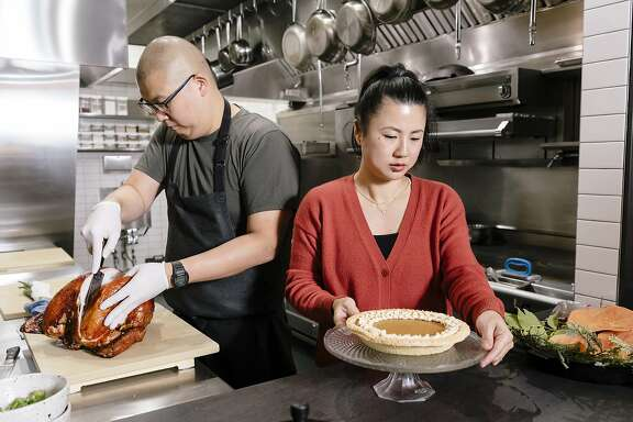 Chefs Michael and Meichih Kim prep a Korean-Taiwanese Thanksgiving spread at Maum restaurant in Palo Alto, California, Thursday, November 14th, 2019.