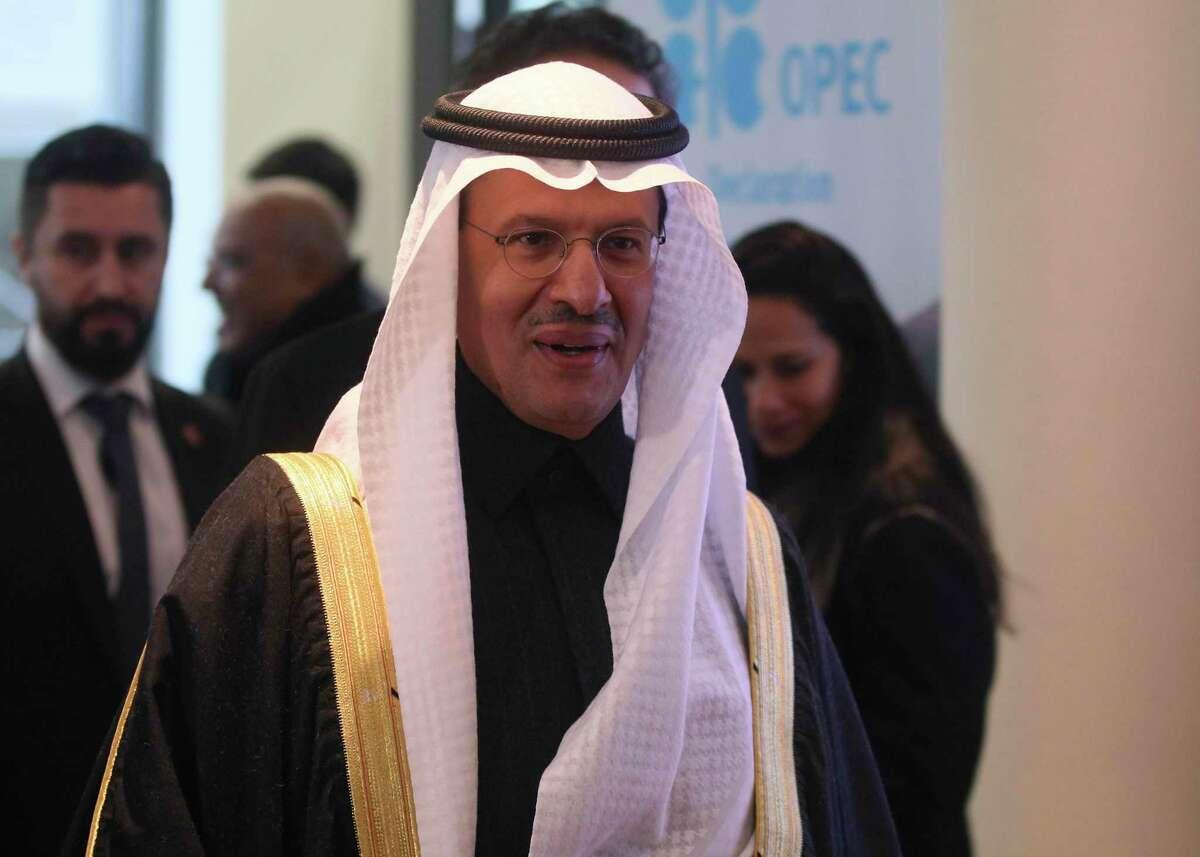 Prince Abdulaziz bin Salman Al-Saud, Minister of Energy of Saudi Arabia, arrives for a meeting of the Organization of the Petroleum Exporting Countries, OPEC at their headquarters in Vienna, Austria, Thursday, Dec. 5, 2019. (AP Photo/Ronald Zak)