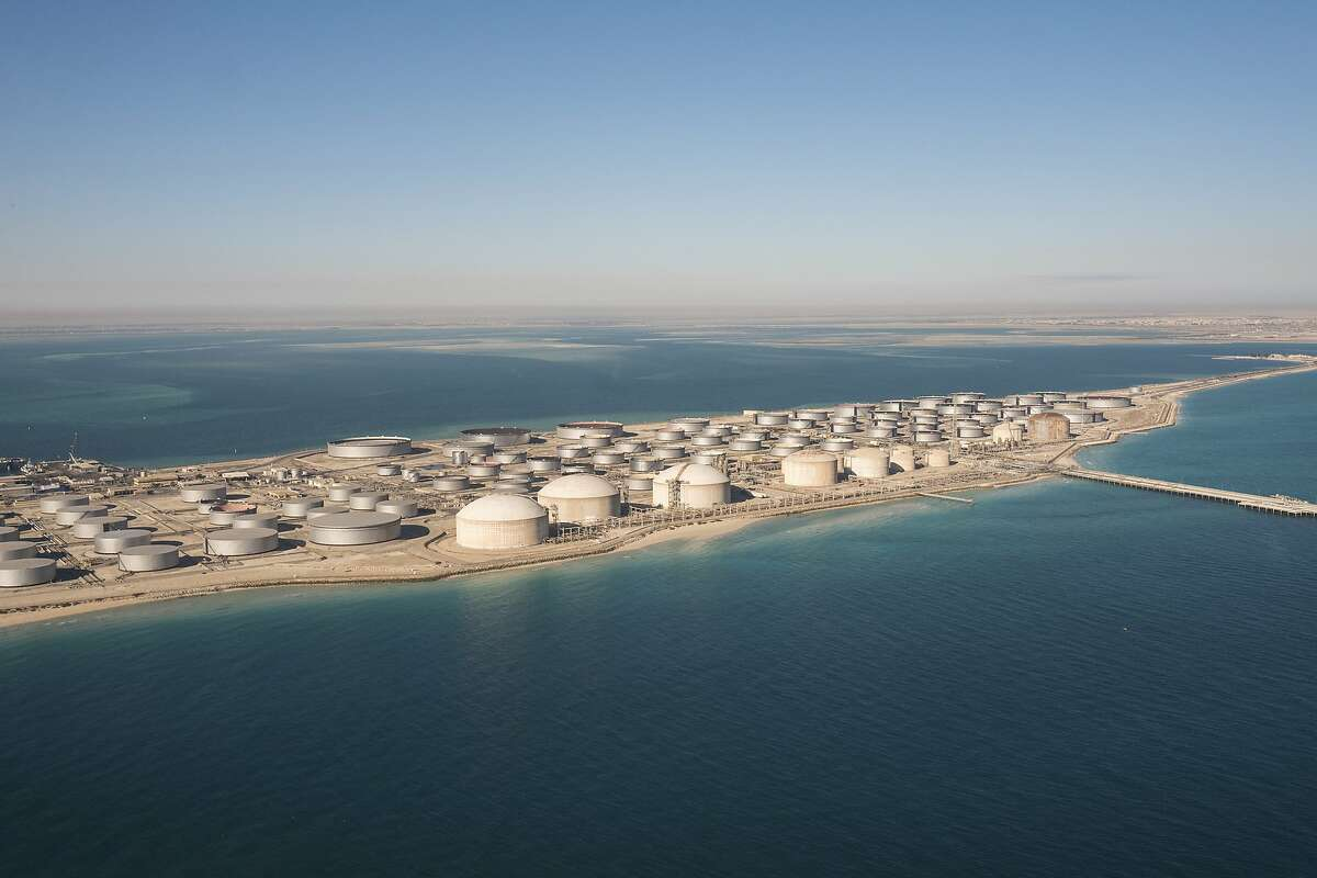 FILE - A tank farm for oil products in Dhahran, Saudi Arabia, Jan. 11, 2018.