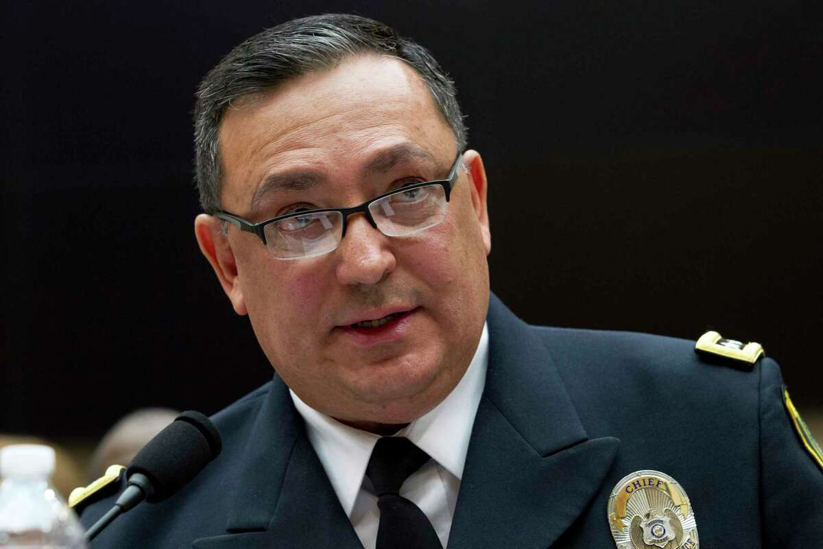 Houston Police Department chief Art Acevedo testifies before the House Judiciary Committee hearing on gun violence, at Capitol Hill in Washington, Wednesday, Feb. 6, 2019. (AP Photo/Jose Luis Magana)