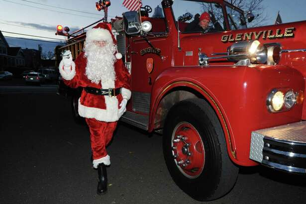 Santa arrives during the annual Christmas Tree lighting at the Byram Shubert Library in the Byram section of Greenwich in 2016. The event returns Dec. 7.