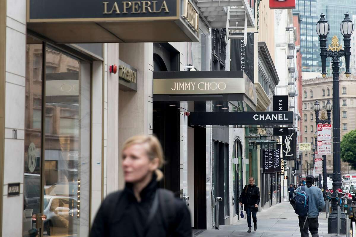 Chanel, Jimmy Choo and La Perla stores are seen on the same block as 152 Geary Street in San Francisco, Calif. Wednesday, Dec. 4, 2019.