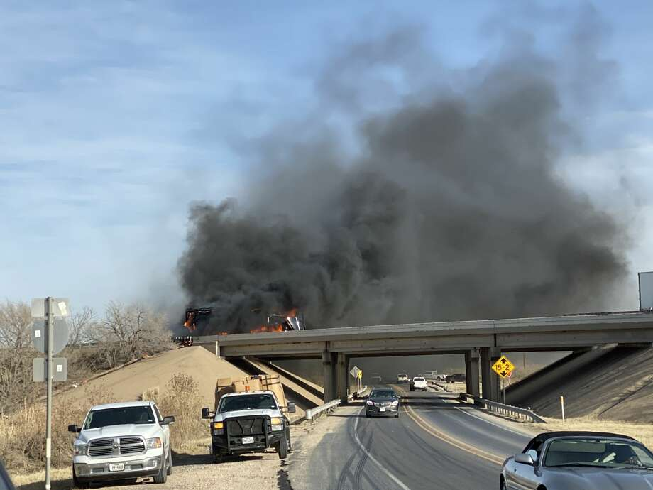 Interstate 20 westbound at Farm-to-Market Road 307 was closed Thursday after an 18-wheeler caught fire on the overpass, according to a Midland Fire Department Facebook post. Photo: Ty Jones