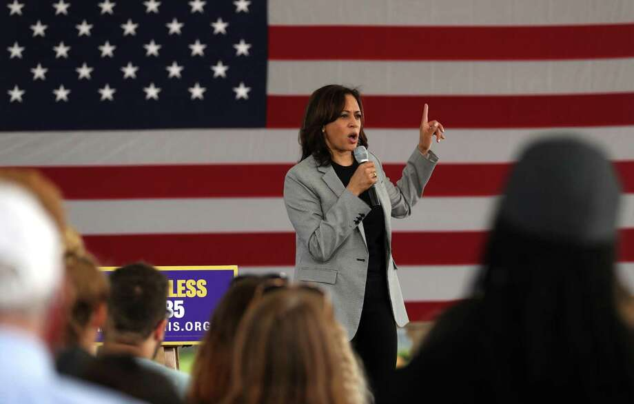 U.S. Sen Kamala Harris speaks at an August rally in Iowa. There are many reasons Harris' campaign faltered, but race and gender certainly played a part. Photo: Justin Sullivan /Getty Images / 2019 Getty Images