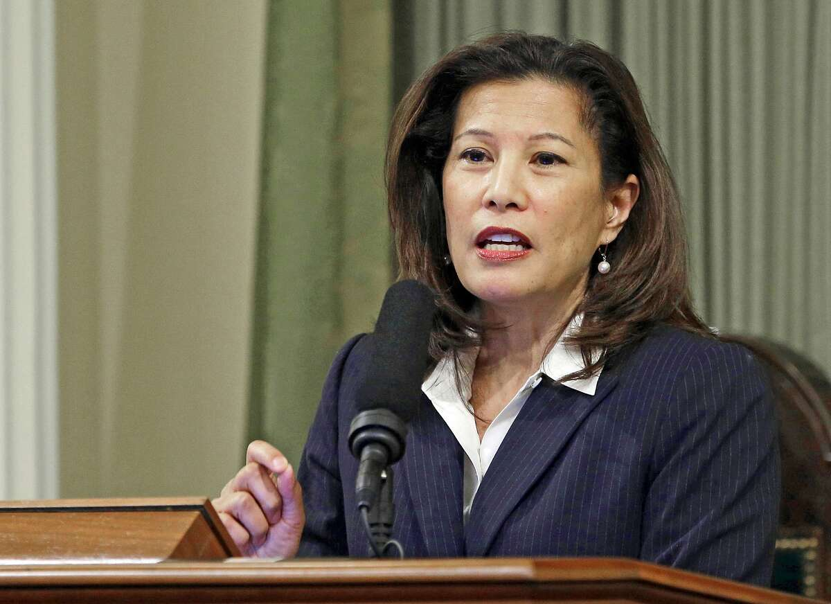 FILE - In this March 23, 2015 file photo, California Supreme Court Chief Justice Tani Cantil-Sakauye delivers her State of the Judiciary address before a joint session of the Legislature at the Capitol in Sacramento, Calif. California's Supreme Court rejected a state law that would have required President Donald Trump to disclose his tax returns to appear as a candidate in the state's primary election next spring. The justices on Thursday said the law that would have required tax returns for all presidential and gubernatorial candidates to appear on the primary ballot was unconstitutional. A federal judge had temporarily blocked the state law in response to a different lawsuit. (AP Photo/Rich Pedroncelli, File)