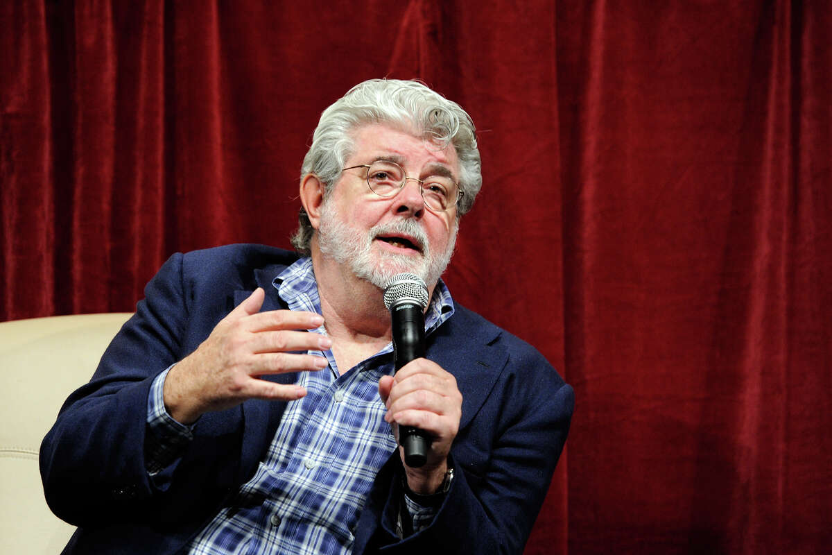 Filmmaker George Lucas speaking at a digital filmmakers forum.