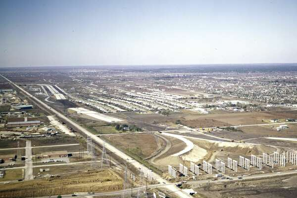 Southwest Freeway construction, looking outbound toward Post Oak at Westpark, circa 1959-1960.