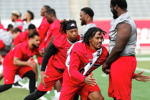 Houston Roughnecks defensive back Brendan Langley (22) runs a drill with his teammates during the XFL team's opening practice at TDECU Stadium on Thursday, Dec. 5, 2019, in Houston.