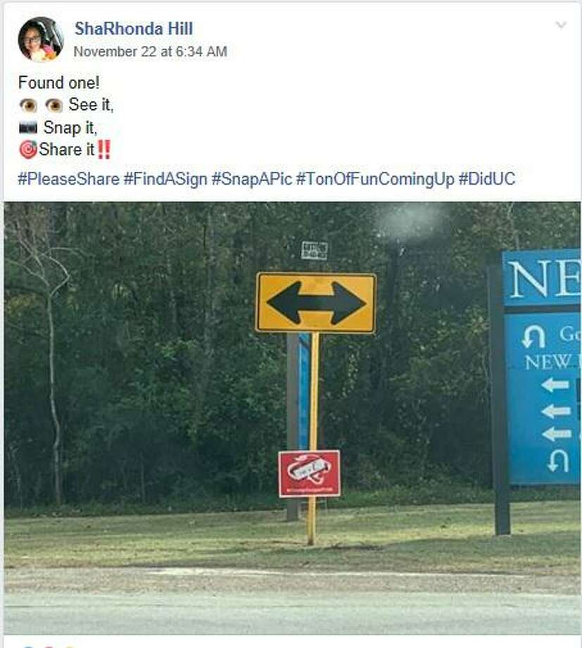 """People from Crosby started to excitedly post pictures on social media when they found a """"Did u C?"""" sign Photo: ShaRhonda Hill Facebook, Code Red Community"""