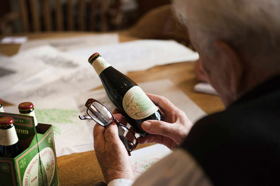 Jim Stitt has illustrated 44 of the 45 labels for Anchor Christmas Ale, a beloved annual holiday offering from the 123-year-old brewery that features both a new recipe and unique hand drawn tree every year. Photo: Blair Heagerty / SFGate