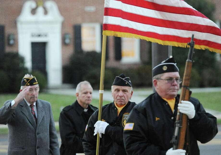 The Town of Greenwich Pearl Harbor Remembrance Day 76th anniversary ceremony in front of Town Hall in 2017. The 2019 ceremony will take place Saturday inside the Public Safety Complex at 4:30 p.m. Photo: Bob Luckey Jr. / Hearst Connecticut Media / Greenwich Time