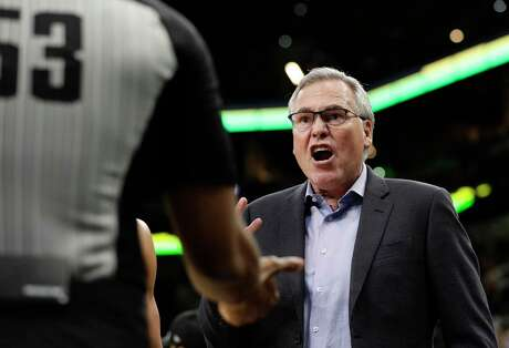 Houston Rockets head coach Mike D'Antoni during the second half of an NBA basketball game against the San Antonio Spurs, in San Antonio, Tuesday, Dec. 3, 2019. San Antonio won 135-133 in double overtime. (AP Photo/Eric Gay)