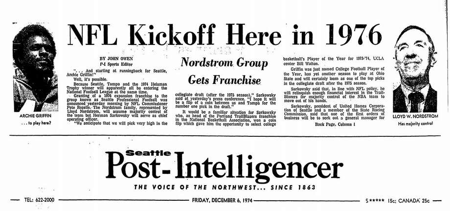 The top of the Dec. 6, 1974 Seattle Post-Intelligencer shows the news that Seattle winning an NFL franchise. Photo: SeattlePI Archives