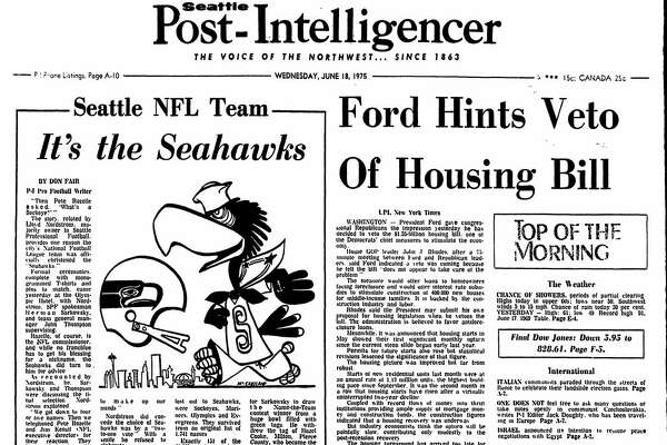 "In the June 18, 1975 edition of the Seattle Post-Intelligencer, the name ""Seahawks"" was announced for Emerald City's new NFL team."