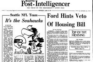 """In the June 18, 1975 edition of the Seattle Post-Intelligencer, the name """"Seahawks"""" was announced for Emerald City's new NFL team."""