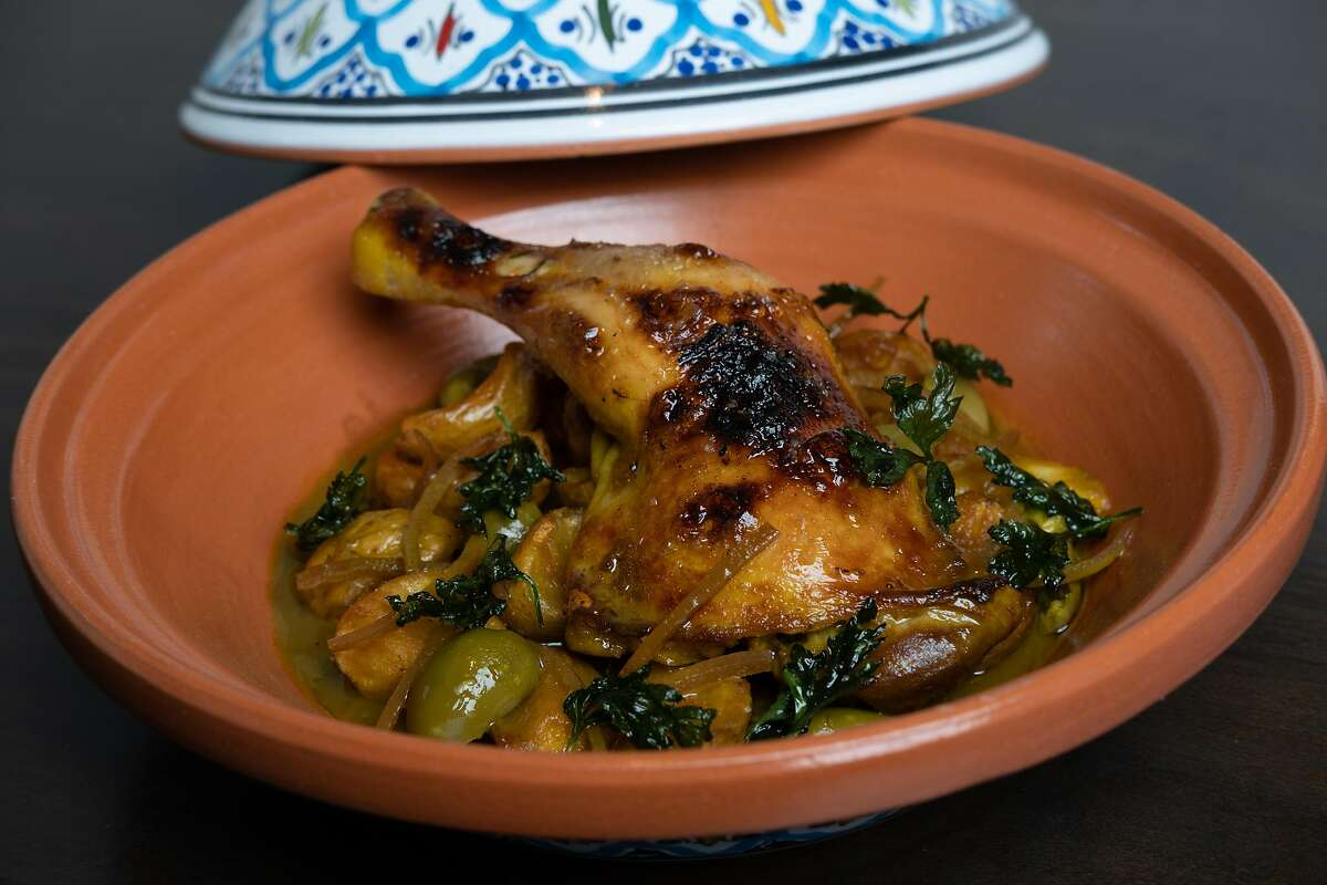 Photograph of the slow cooked chicken at Aziza, a new Moroccan restaurant in San Francisco, Calif. on Sunday, December 1, 2019.