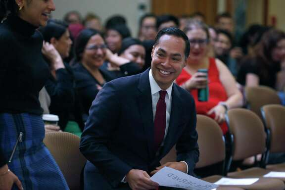 Democratic presidential candidate Julian Castro arrives for a discussion with students on international relations and foreign policy at Stanford University, his alma mater, in Stanford, Calif. on Thursday, Dec. 5, 2019.