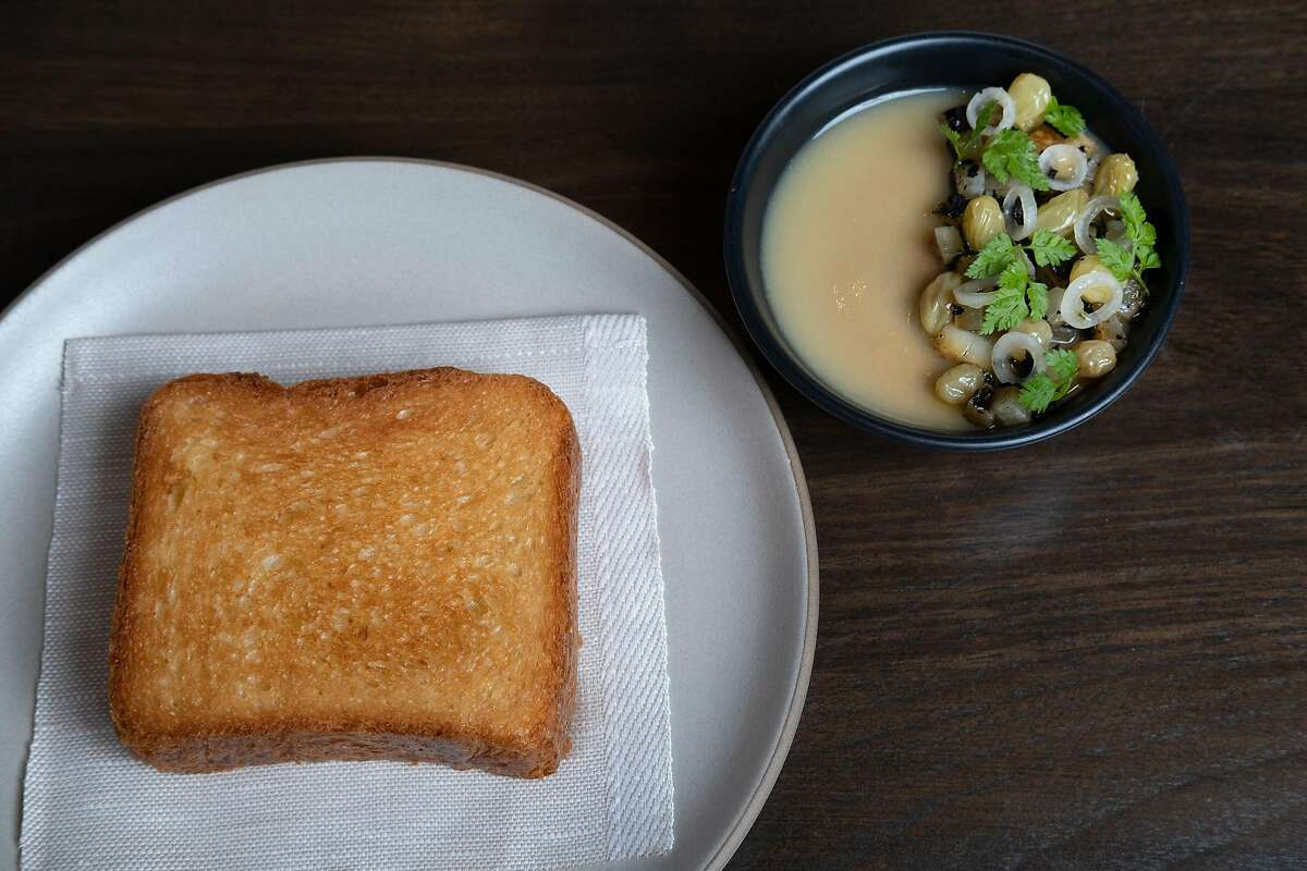 Photograph of the chicken liver mousse at Aziza, a new Moroccan restaurant in San Francisco, Calif. on Sunday, December 1, 2019.
