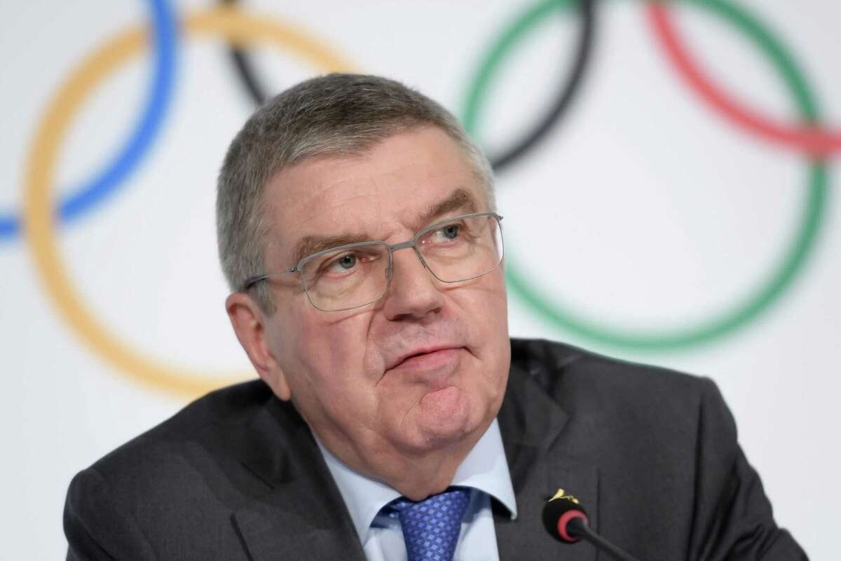International Olympic Committee (IOC) president Thomas Bach attends a press conference following an executive board meeting at the IOC headquarters in Lausanne, on December 5, 2019. - The Russian case will dominate the IOC Executive Board meeting a few days before the decision of the World Anti-Doping Agency (WADA) expected on 9 December, following a recommendation by an independent WADA committee paving the way for Russia to be suspended from the next Olympic Games. (Photo by Fabrice COFFRINI / AFP) (Photo by FABRICE COFFRINI/AFP via Getty Images)